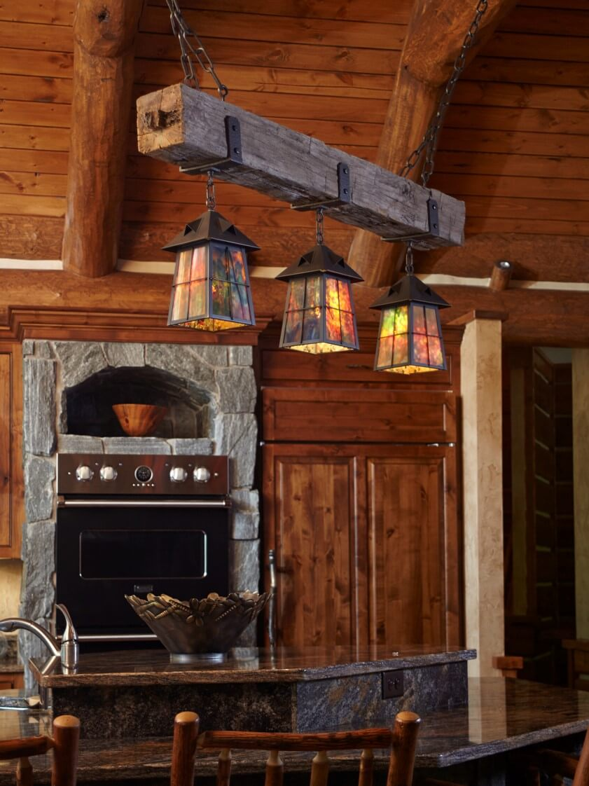 Rustic Beam Chandelier with lanterns
