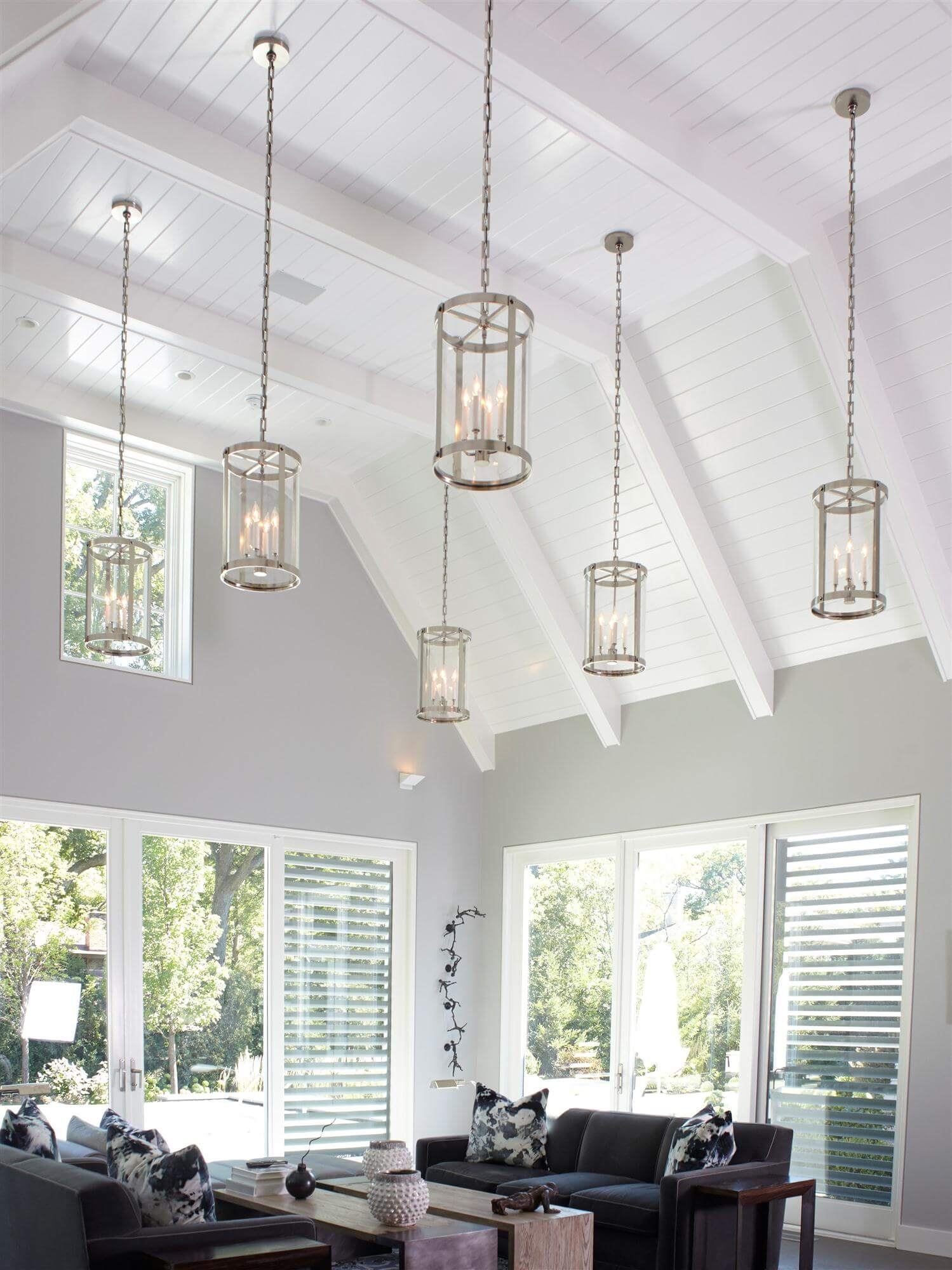 Contemporary Glass Cylinder Lantern Pendant Lights