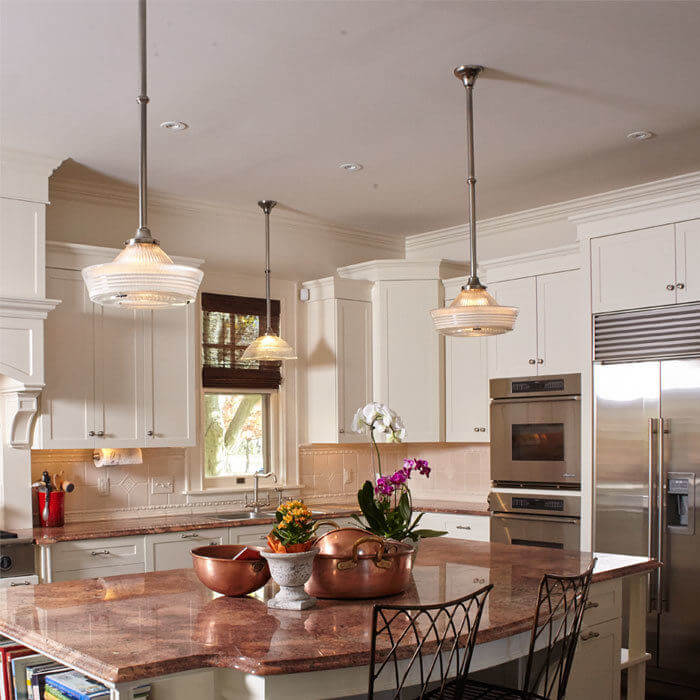 Vintage Original Holophane Pendants Light a Kitchen
