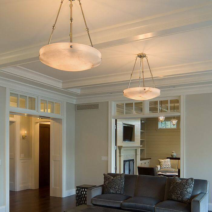 Genuine alabaster pendant lighting for living rooms, bedrooms, foyers and more.