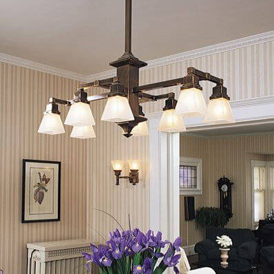 Hartford family of Mission style chandeliers and pedant lighting