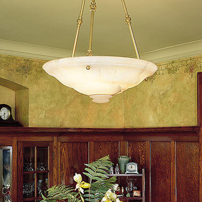 Ionian family of genuine alabaster pendant lighting and wall sconces