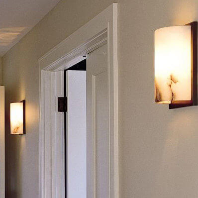 Milan family of genuine alabaster wall sconces