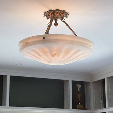 Palladian family of genuine alabaster pendant lighting