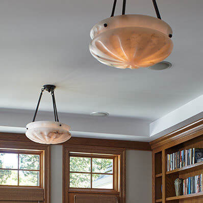 Pantheon family of genuine alabaster pendant lighting