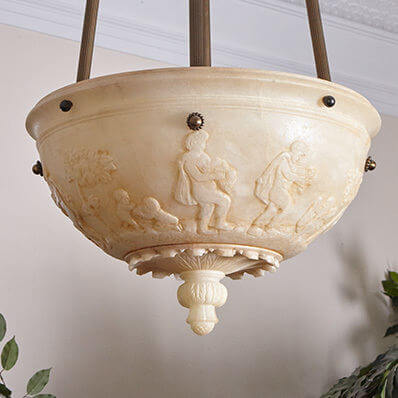 Pierian Muses family of genuine alabaster pendant lighting