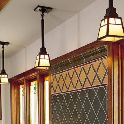 Spring Green family of Arts & Crafts wall sconces, ceiling lights, and pendant lighting