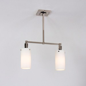 Two Light Polished Nickel Tribeca Pendant with glass cylinder shades
