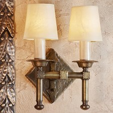 Sutton Two Light Hand Hammered Sconce with electric candles