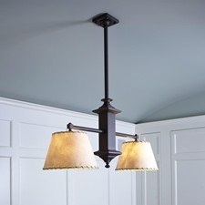Hartford Two Light Chandelier lights Craftsman style dining room