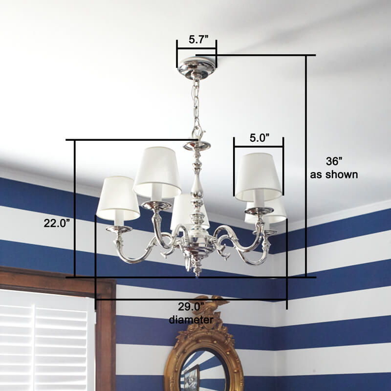 Five Light Cast S Arm Chandelier with Shades
