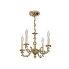 Saint Tropez™ Four Light Chain Hung Petite Chandelier with electric candles