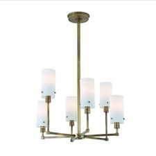 Tribeca Six Light Modern Chandelier with glass shades