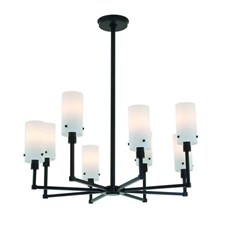 Tirbeca Eight Light Modern Chandelier with glass shades