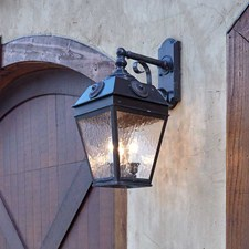 French Country Lantern™ 11 in. Wide Scrolled Drop Exterior French Country Wall Sconce