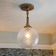 Venetian Glass Globe Chain Hung Pendant Lights Powder Room