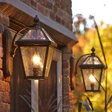 London™ Lantern 8 in. Wide Curved Arm Exterior Wall Light