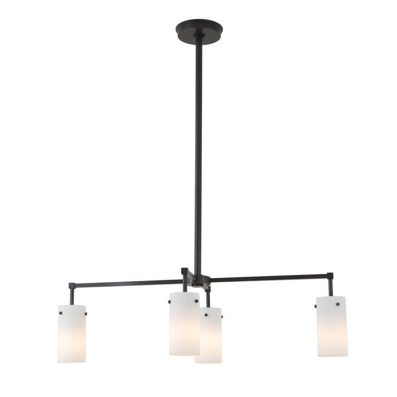 Tribeca Semplice Four Light Modern Rectangular Chandelier with glass shades down