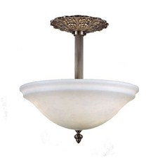 Navarra™ 12 in. Diameter Ornate Single Stem Alabaster Pendant