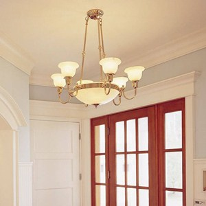 Tuscany with Band™ 6 arm Small Alabaster Chandelier with electric candles