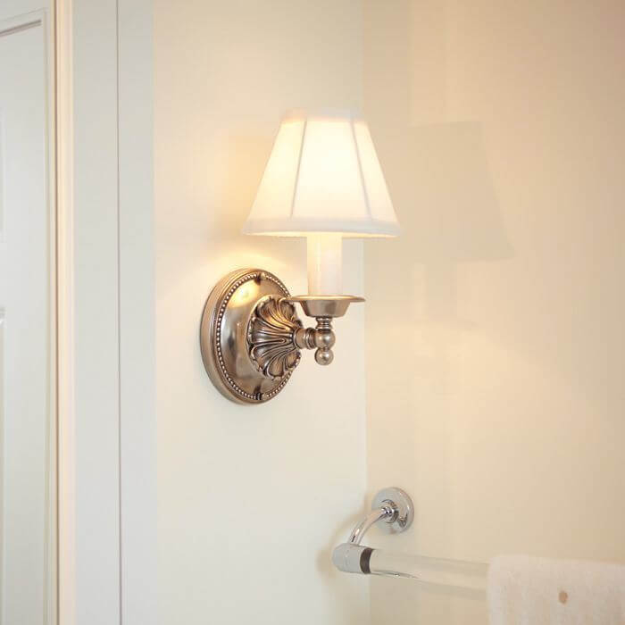 One Light Straight Arm Sconce with electric candle