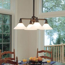 Shoreland™ Four Light Chandelier with 2-1/4 in. shade holders down