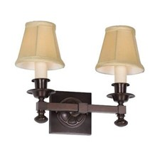 Morris™ Two Light Straight Arm Sconce with electric candles