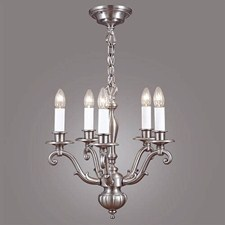 Canterbury™ Five Light Curved Arm Chandelier with electric candles