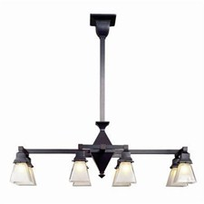 Golden Gate™ Eight Light Rectangular Chandelier with 2-1/4 in. shade holders down