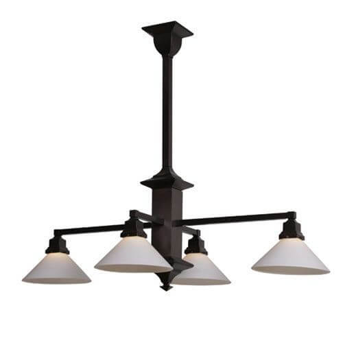 Four light rectangular chandelier with 2 14 shade holders down hartford craftsman style chandelier aloadofball Image collections