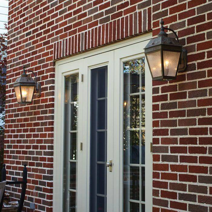 Lantern 9 in wide curved arm exterior wall light with - Georgian style exterior lighting ...