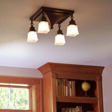 Golden Gate™ Four Light Chain Link Ceiling Fixture with 2-1/4 in. shade holders