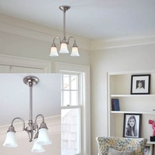 Three Light Solid Stem Chandelier