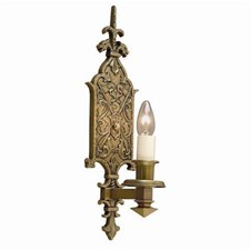 Tudor Dragon™ One Light Straight Arm Sconce with electric candle