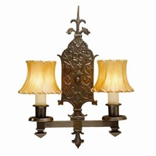 Tudor Dragon™ Two Light Straight Arm Sconce with electric candles