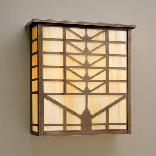 Sunrise Lantern™ 18 in. Wide Flush Exterior Wall Light with Roof