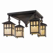Craftsman Lantern™ Four Light Chain Link Ceiling Fixture