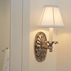 Linen Fold One Light Straight Arm Sconce with electric candle