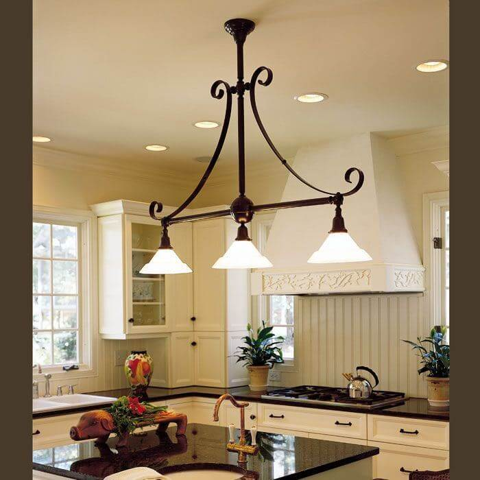 """Three Light Scroll Chandelier With 2-1/4"""" Shade Holders"""
