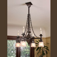 Summit™ Eight Light Chain Link Chandelier with 2-1/4 in. shade holders & candles