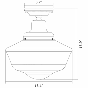 Carlton One Light Flush Ceiling Fixture with 6-1/4 in. shade holder