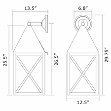 Carriage Lantern 12 in. Wide Straight Arm Exterior Wall Light
