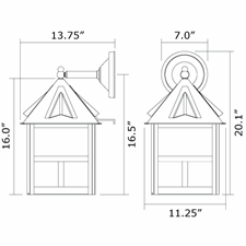 Cottage Lantern 12 in. Wide Straight Arm Exterior Wall Light