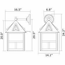 Cottage Lantern 14 in. Wide Straight Arm Exterior Wall Light