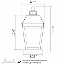 Provincial Lantern 6 in. Wide Exterior Pier Light