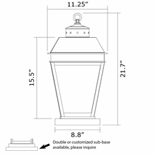 Provincial Lantern 11 in. Wide Exterior Pier Light