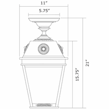 French Country Lantern 11 in. Wide Semi Flush Exterior Ceiling Light