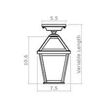 London Lantern 7 in. Wide Semi Flush Exterior Ceiling Light