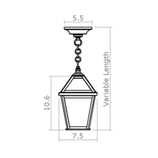 London Lantern 7 in. Wide Chain Hung Exterior Pendant Light