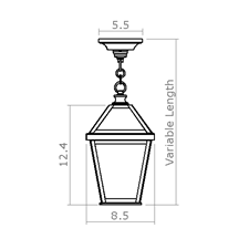 London Lantern 8 in. Wide Chain Hung Exterior Pendant Light